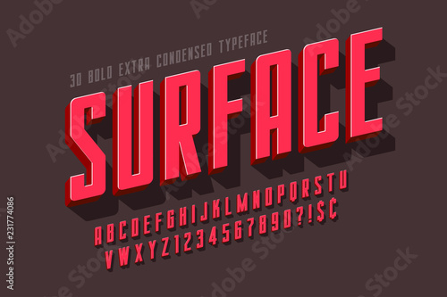 Obraz Condensed 3d display font design, alphabet, letters - fototapety do salonu