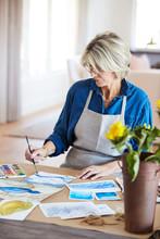 Senior Woman Doing Her Watercolor Artwork