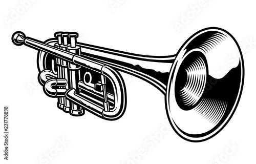 Vector illustration of black and white trumpet. Fototapeta