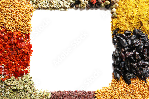 Foto op Canvas Kruiderij Frame made of different aromatic spices on white background, top view with space for text