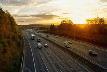 Evening Traffic On British Motorway M25