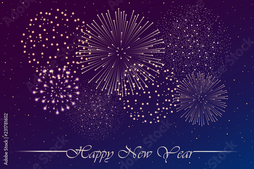 Firework show on blue and violet night sky background. New year concept. Congratulations or invitation card background. Vector illustration