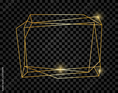 Photographie Vintage shining gold geometric frame isolated on transparent background