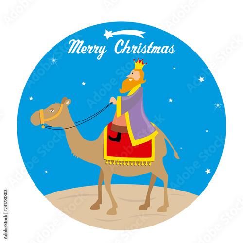 Photo Christmas card. The Wise men Caspar on camel