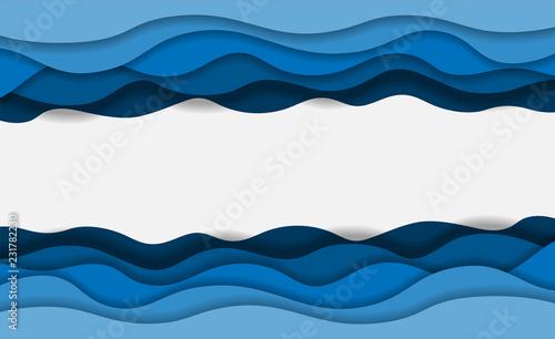Fale niebieskiej wody warstwowe karty papieru sztuki. Projekt origami 3D. Ilustracji wektorowych