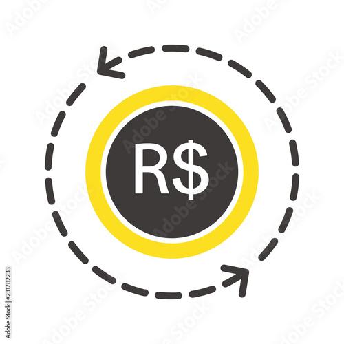 Fotografie, Obraz  ブラジルレアル通貨コインアイコン矢印ベクターイラスト