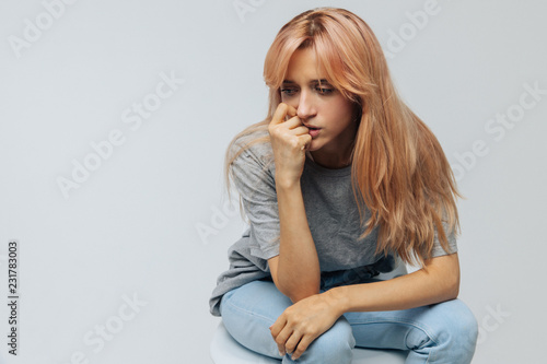 Recess Fitting Hair Salon Crying young woman with strawberry blonde hair feels unhappy and depressed, isolated. Problem in relationships, relationships breakup, love depression concept