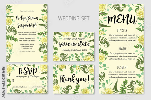 Garden Poster Retro sign Wedding Invitation, flowers of yellow dahlia, fern leaves greenery, eucalyptus and boxwood branches, forest foliage decorative frame print