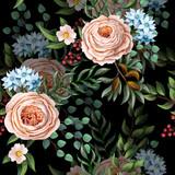 Bezszwowy wzór z Angielskimi różami i innymi kwiatami w rocznika wiktoriańskim stlyle. Wektor. - 231789217