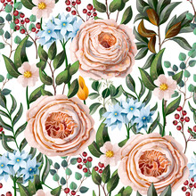 Seamless Pattern With English Roses And Other Flowers In Vintage Victorian Stlyle. Vector.