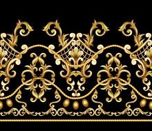 Border With Golden Baroque Ele...