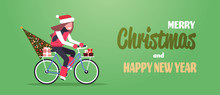 Woman Riding Bike With Fir Tree Gift Box Merry Christmas Happy New Year Concept Flat Horizontal Vector Illustration