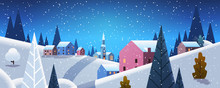 Night Winter Village Houses Mountains Hills Landscape Snowfall Background Horizontal Banner Flat Vector Illustration