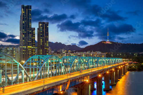night view of seoul by han river in south korea