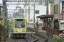 雨の日の路面電車