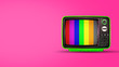canvas print picture - Old vintage tv on pink background