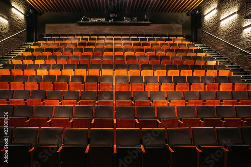 Foto op Aluminium Theater Empty theatre or cinema auditorium hall with rows of seats or chairs
