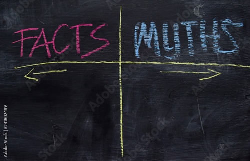 Photo Facts or Myths written with color chalk concept on the blackboard