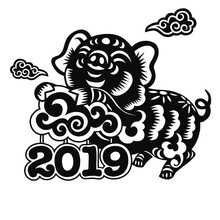 Chinese Zodiac Sign Year Of Pig,paper Cut Pig,Happy Chinese New Year 2019 Year Of The Pig