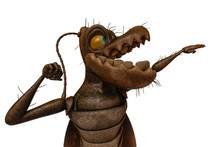 Cockroach Cartoon In White Background