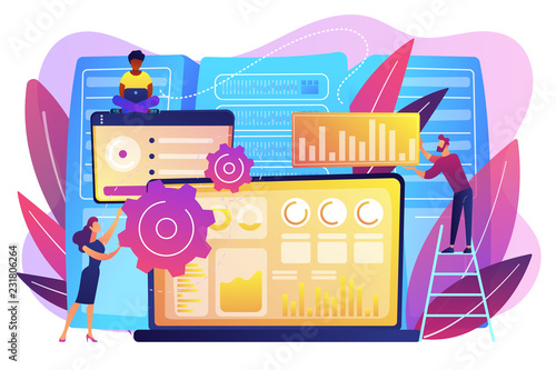 Wall Murals Draw Laptop with data visualization software and developers working. Big data visualization, big data analytics, visualization software concept. Bright vibrant violet vector isolated illustration