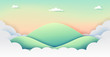 Green nature landscape background with mountains,clouds and sky of paper art style.Vector illustration.