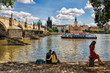 canvas print picture - Prag, Moldau mit Karlsbrücke