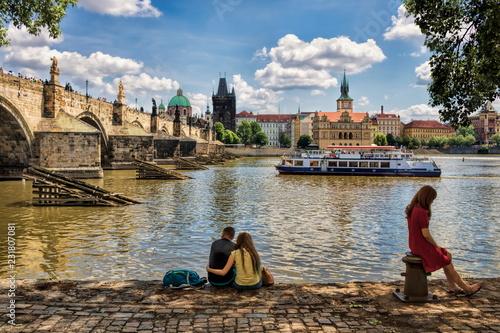 obraz dibond Prag, Moldau mit Karlsbrücke
