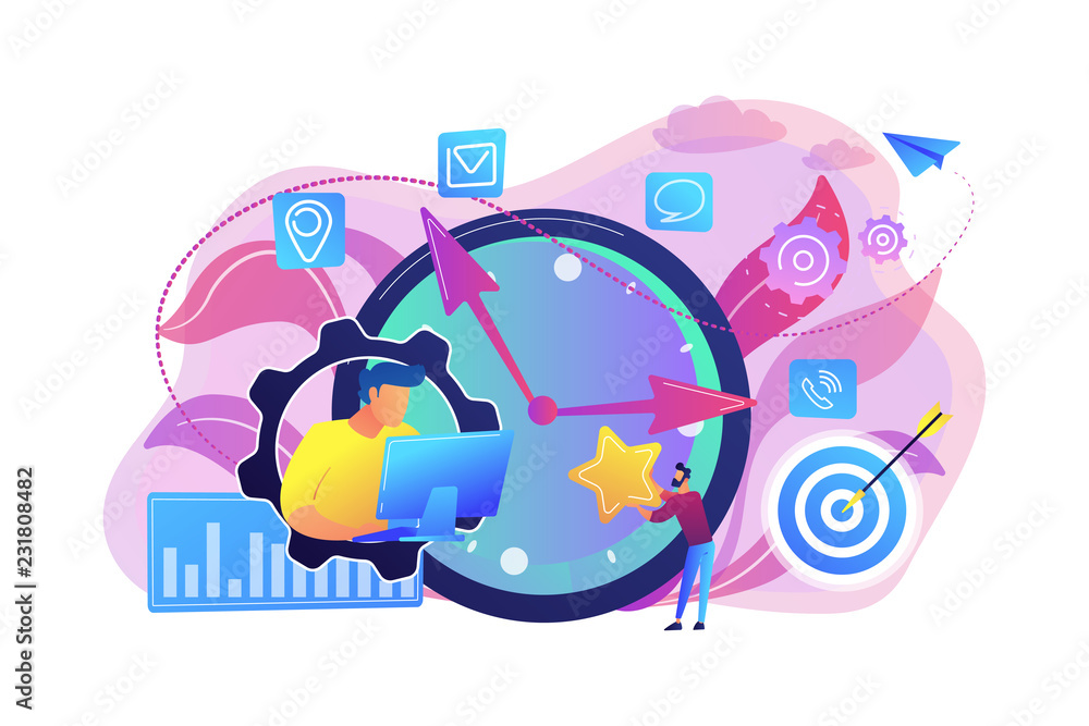 Fototapety, obrazy: Businessman trying to accomplish tasks and goals on time and big clock and computer. Time management, effective time spending, time planning concept. Bright vibrant violet vector isolated illustration