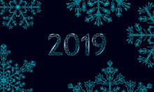 Polygonal Low Poly 2019 Snowflake. Isolated 3D Detailed Render Geometric Triangle Greeting Card. Ice Snow Crystal Dark Blue Sparkle Christmas New Year Template Vector Illustration