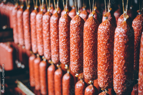 sausage meat production Fototapeta