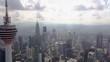 Flying towards the amazing Menara Tower in Kuala Lumpur KL Malaysia