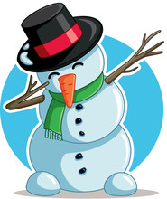 Cool Dabbing Snowman Vector Cartoon
