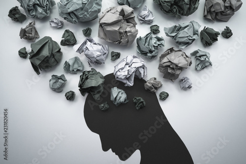 Silhouette of troubled person head Wallpaper Mural