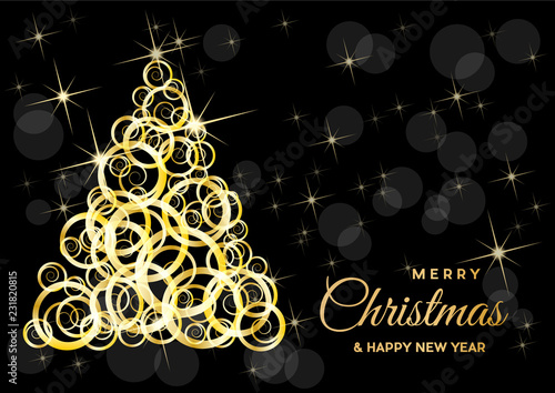 Foto op Plexiglas Hoogte schaal Christmas tree, vector postcard or greeting. Gold curls, wealth and prosperity concept.