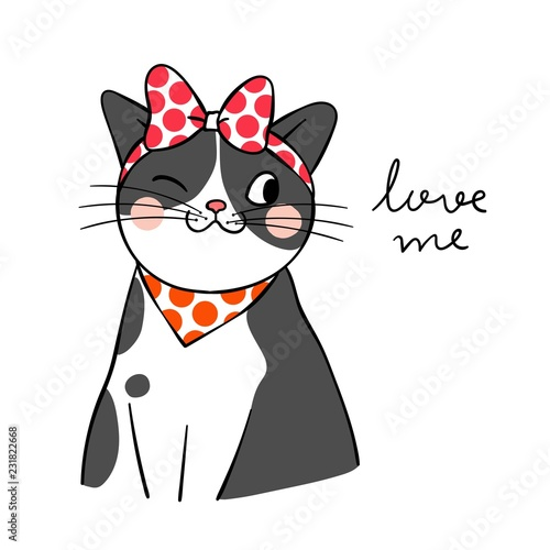 Draw black cat with big red bow on head and word love me Wall mural