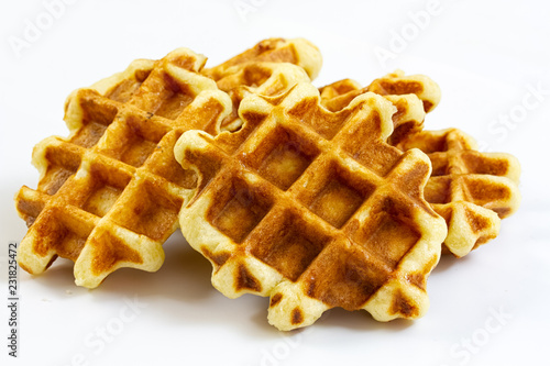 Fotografía  waffles isolated on white background