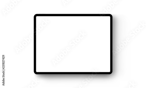 Obraz Black tablet computer horizontal mock up - front view. Vector illustration - fototapety do salonu