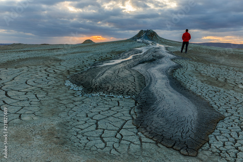 Fototapeta Mud volcanoes in Gobustan at sunset
