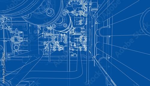 Fotomural  Sketch of industrial equipment. Vector