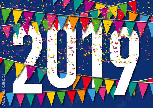 Carte de vœux 2019 dans une ambiance de fête, avec des ...