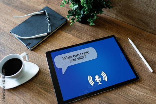 Voice assistant on device screen Canvas Print