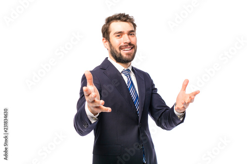 Fotografie, Obraz  elegant man in suit on white background