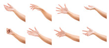 Set Of Man Hands Isolated On White Background