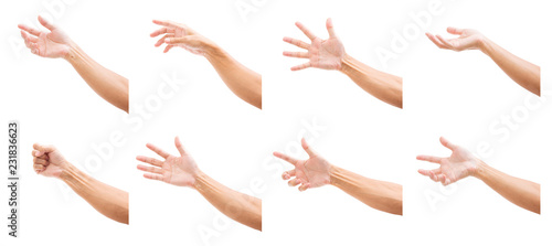 Fényképezés  Set of man hands isolated on white background