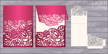 Die Laser Cut Wedding Card Vector Template. Invitation Pocket Envelope With Roses Pattern. Wedding Lace Invitation Mockup.