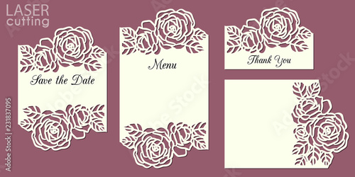 Photo Laser cut wedding invitation cards template set with roses patterned frame