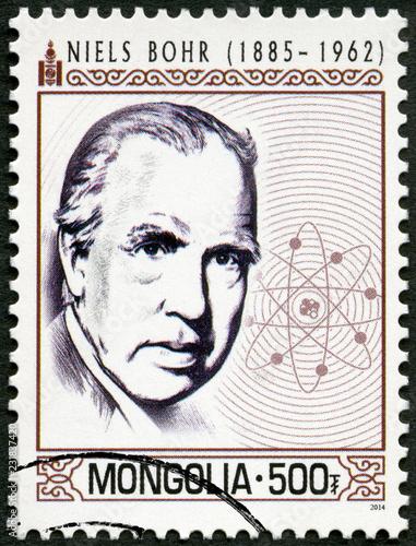 MONGOLIA - 2014: shows portrait Niels Henrik David Bohr  (1885-1962)