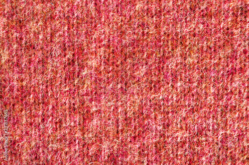 Fotobehang Stof Red wool fabric texture background, close-up