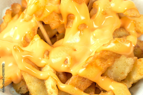 Fotografie, Tablou Tasty french fries with cheese sauce